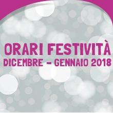 Notizie dal blog: Orari festività Dicembre - Gennaio 2018